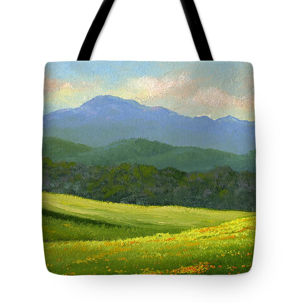 Landscape Tote Bag featuring the painting Dandelion Meadows by Frank Wilson