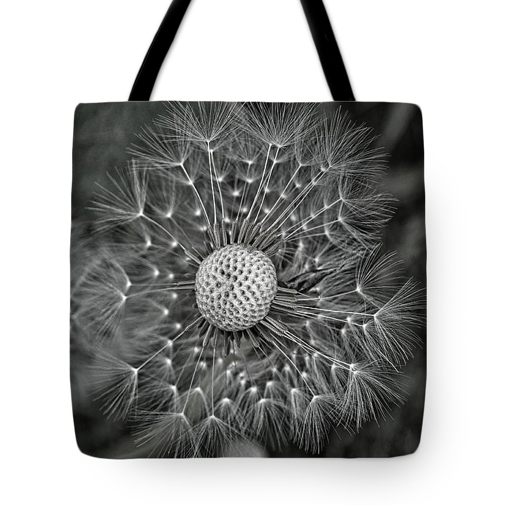Juneau Tote Bag featuring the photograph Dandelion Seeds Monochrome by Cathy Mahnke