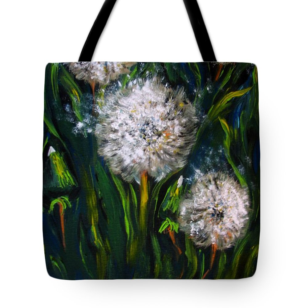 Flower Art Tote Bag featuring the painting Dandelions Acrylic Painting by Natalja Picugina