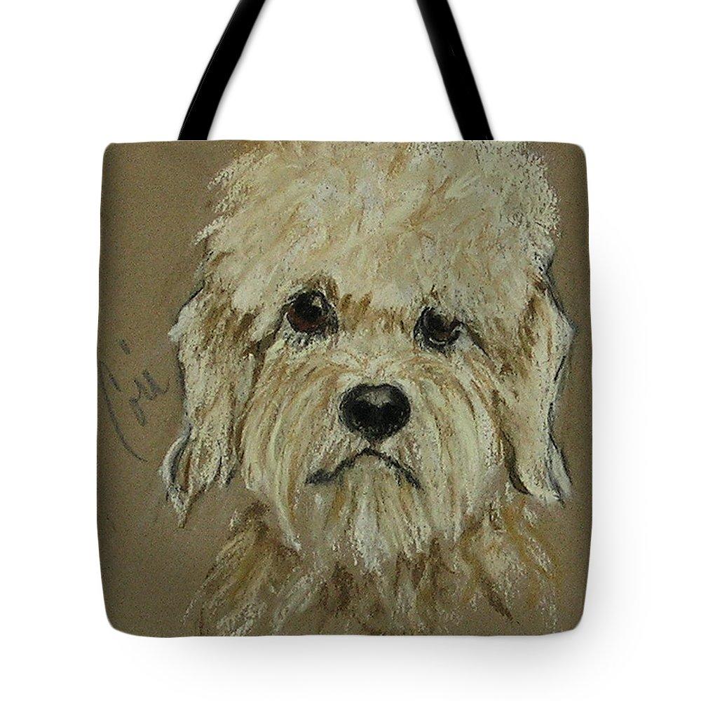 Dandie Dinmont Terrier Tote Bag featuring the drawing Dandie by Cori Solomon
