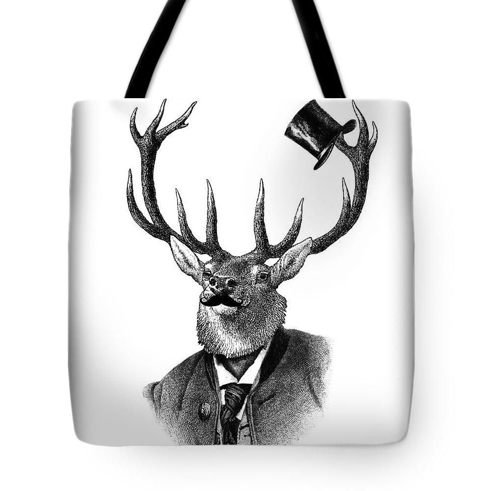 Deer Tote Bag featuring the digital art Dandy Deer Portrait by Madame Memento