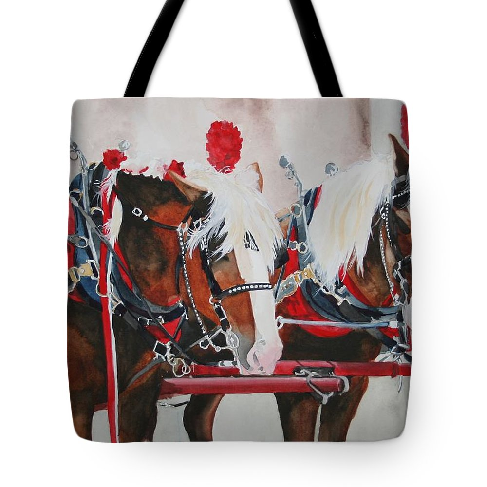 Horse Tote Bag featuring the painting Dandy Duo by Jean Blackmer