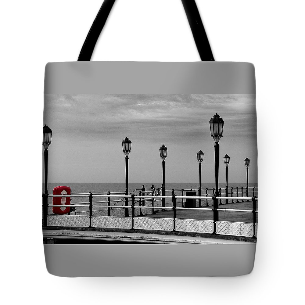 Red Tote Bag featuring the photograph Danger - Lamp Posts by Hazy Apple