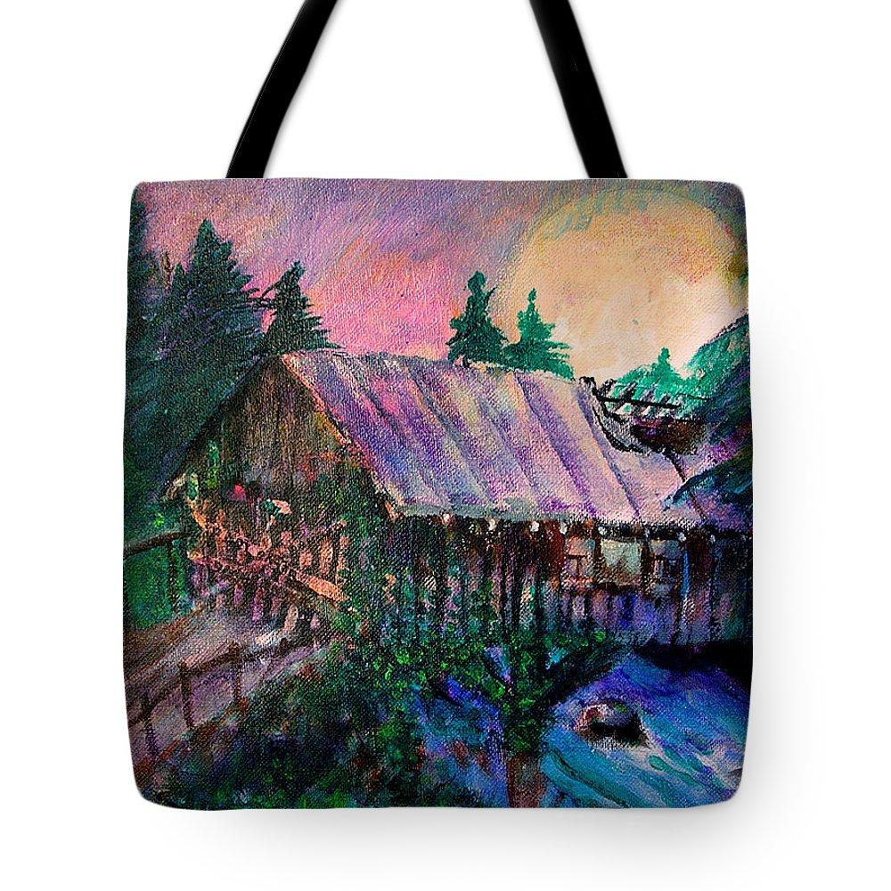 Dangerous Bridge Tote Bag featuring the painting Dangerous Bridge by Seth Weaver