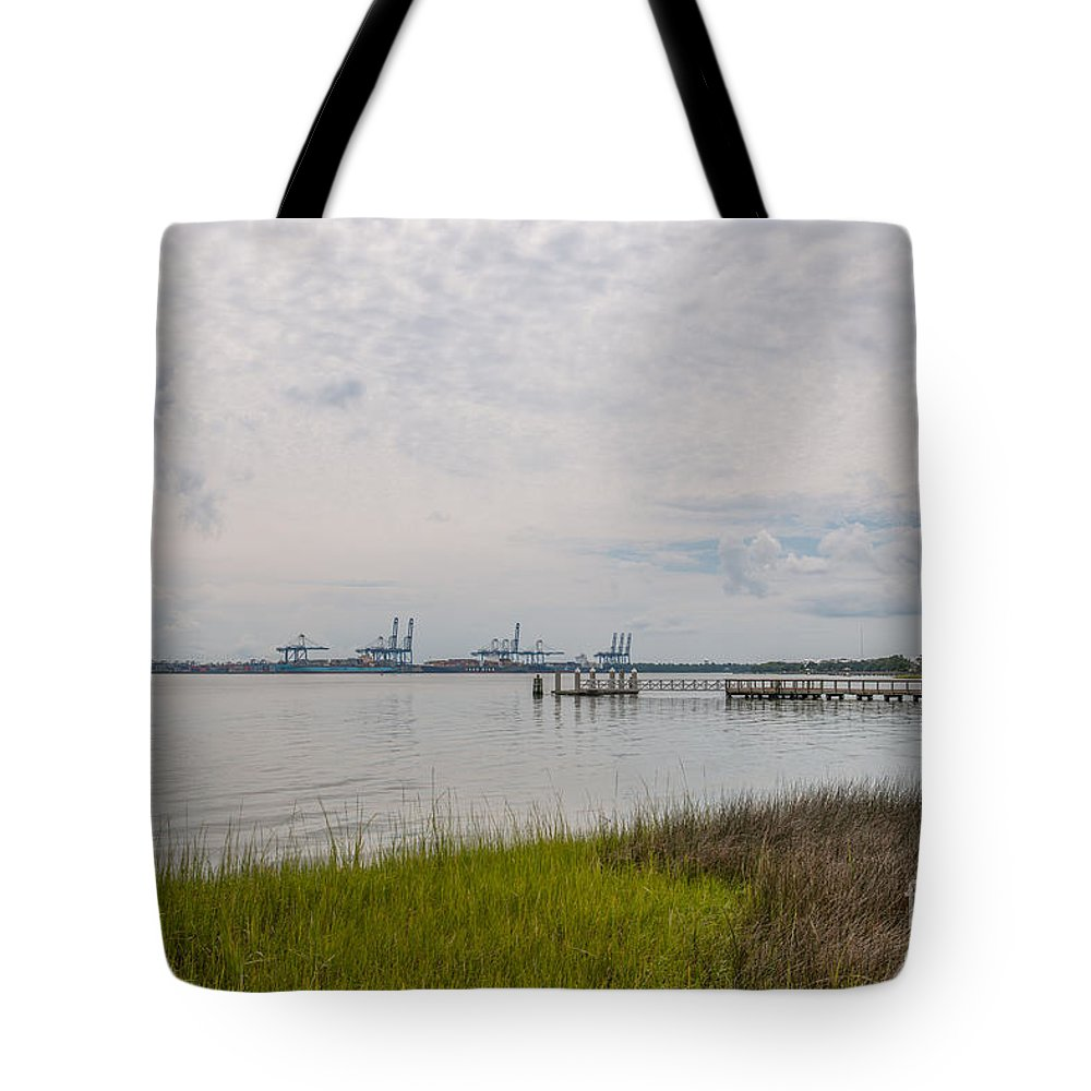 Daniel Island Tote Bag featuring the photograph Daniel Island Commerce View by Dale Powell