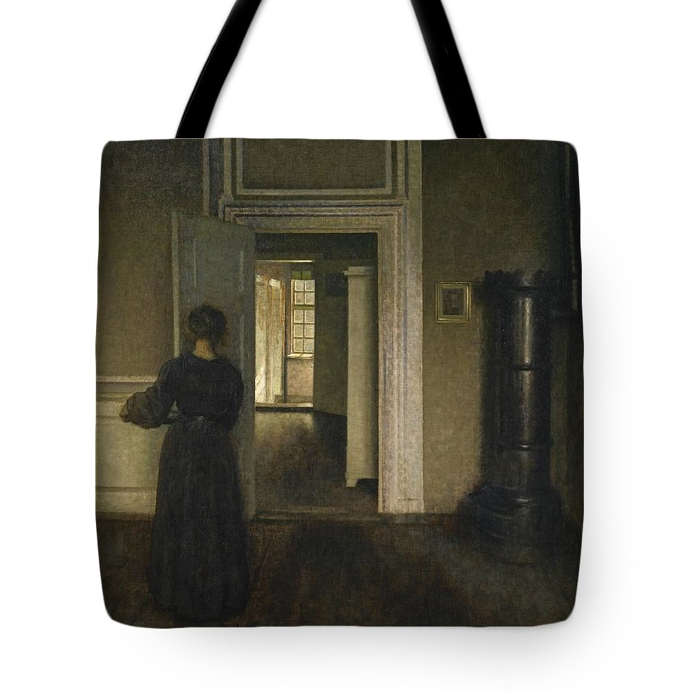 Vilhelm Hammersh�i Danish 1864 - 1916. Woman Tote Bag featuring the painting Danish by MotionAge Designs