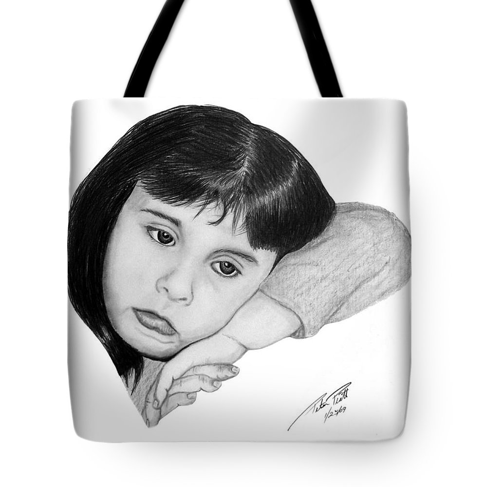 Portrait Sketch Tote Bag featuring the drawing Dannie by Peter Piatt