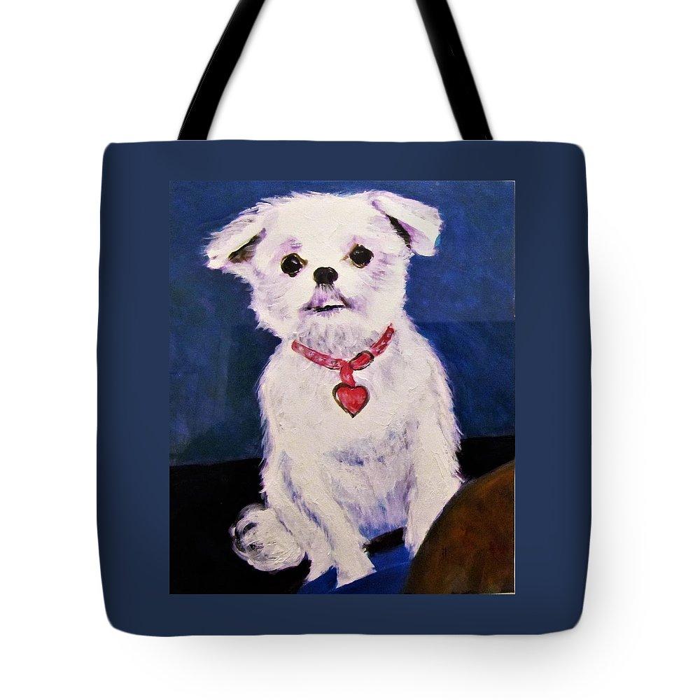 Pet Portrait Tote Bag featuring the painting Daphne by J M Starz