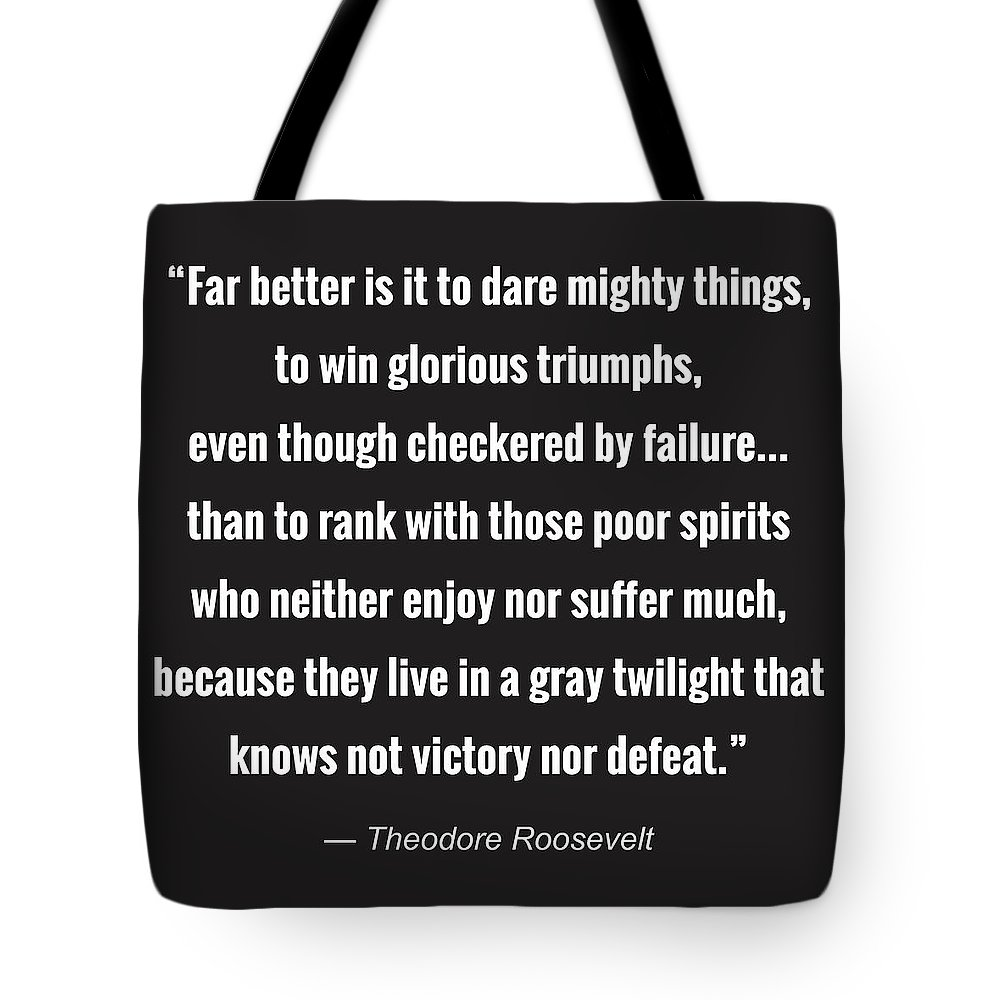 Quote Tote Bag featuring the digital art Dare Mighty Things by Greg Joens