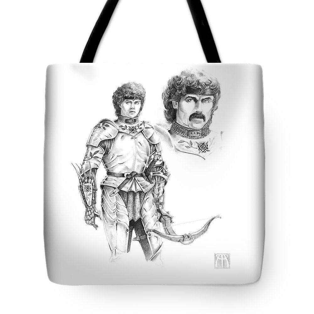 Knight Tote Bag featuring the drawing Daria by Melissa A Benson