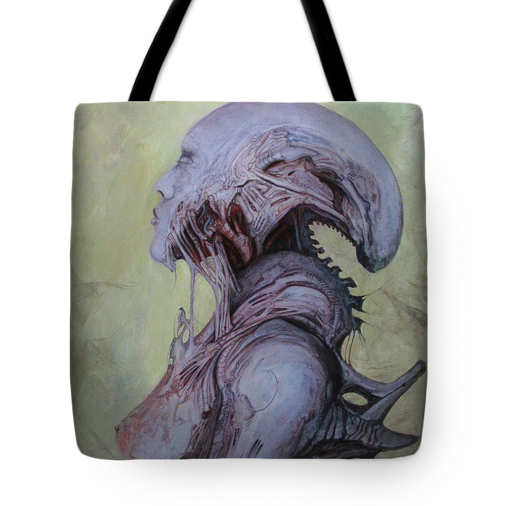 Horror Tote Bag featuring the painting Dark Babylonian by Ed Schaap
