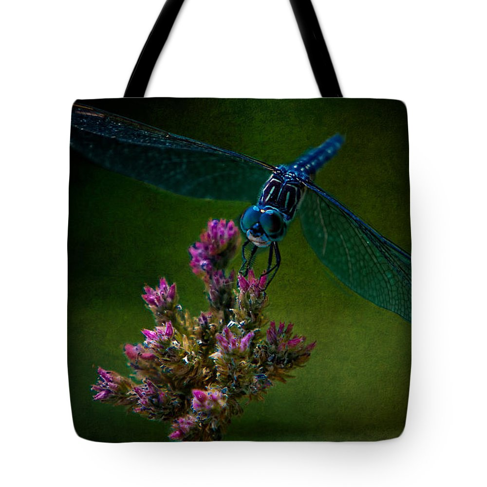Dragonfly Tote Bag featuring the photograph Dark Dragonfly by Chris Lord