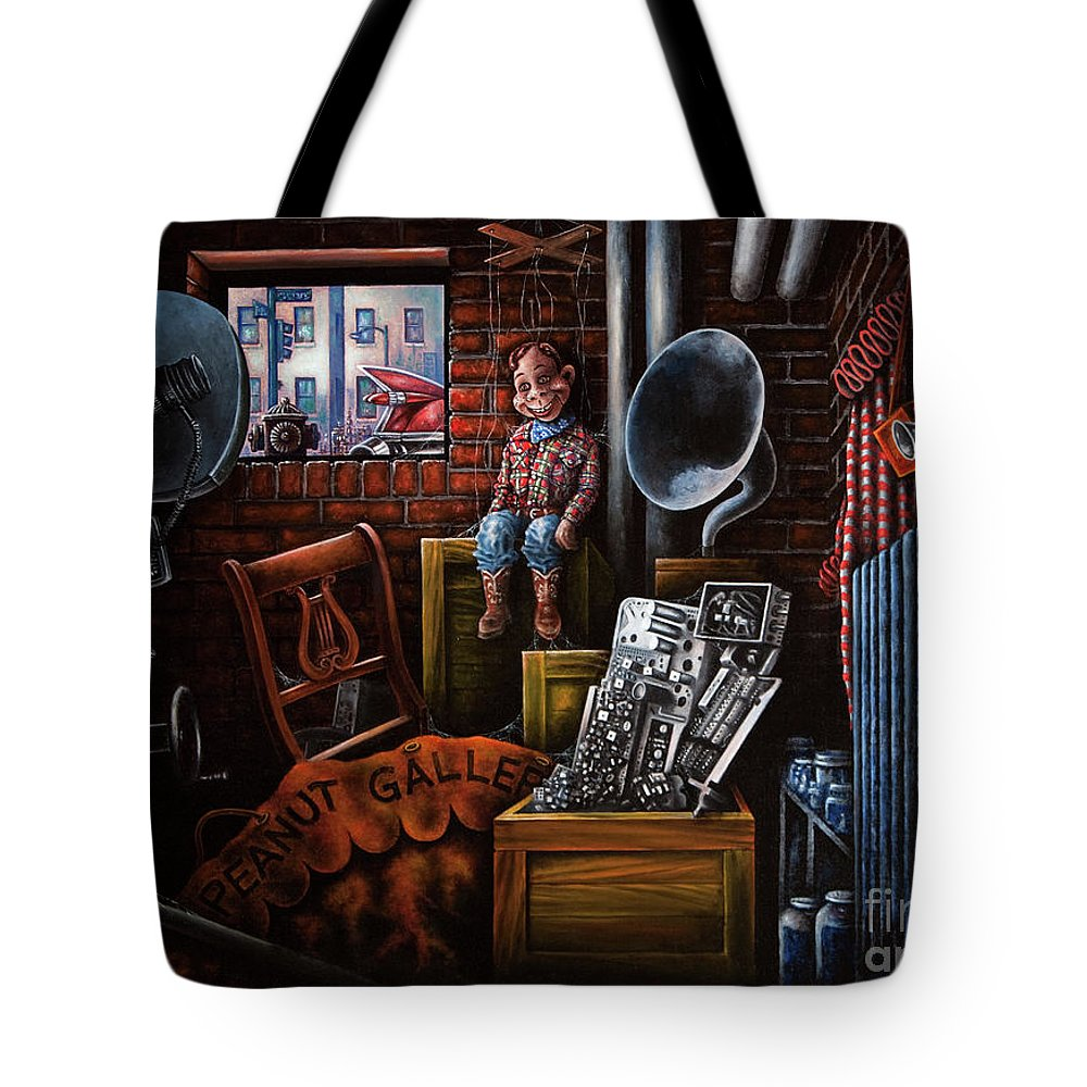 Howdy Doody Tote Bag featuring the painting Dark Exile by Michael Frank