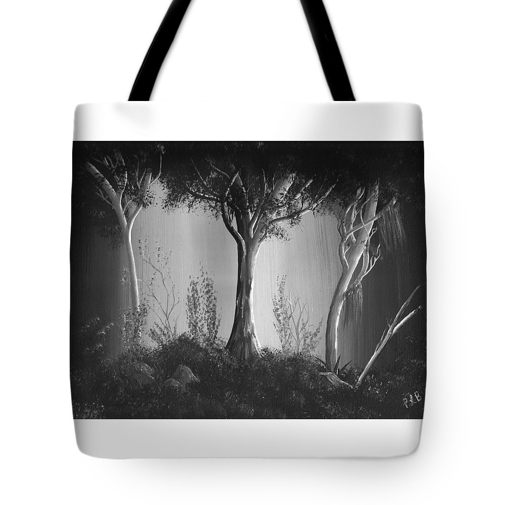 Dark Forest Landscape Tote Bag featuring the painting Dark Forest #11 by Patsy Barnhardt