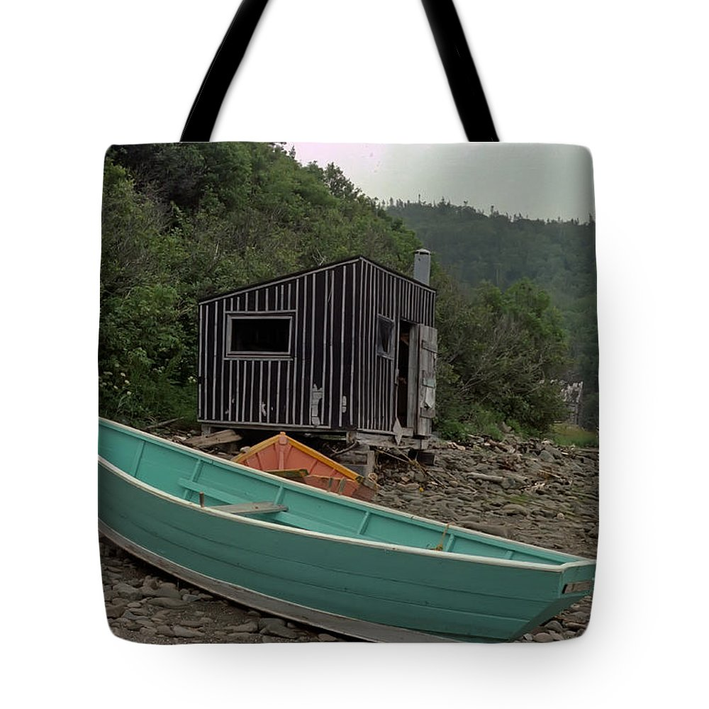 Fisherman Tote Bag featuring the photograph Dark Harbour Fisherman Shack And Boat by Thomas Marchessault