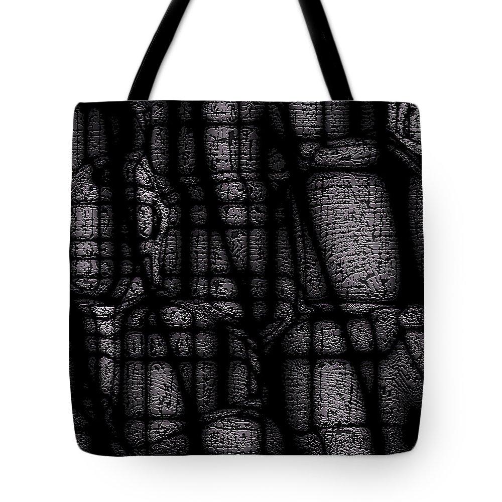 Black Tote Bag featuring the digital art Dark Shadows by Bruce Vollert