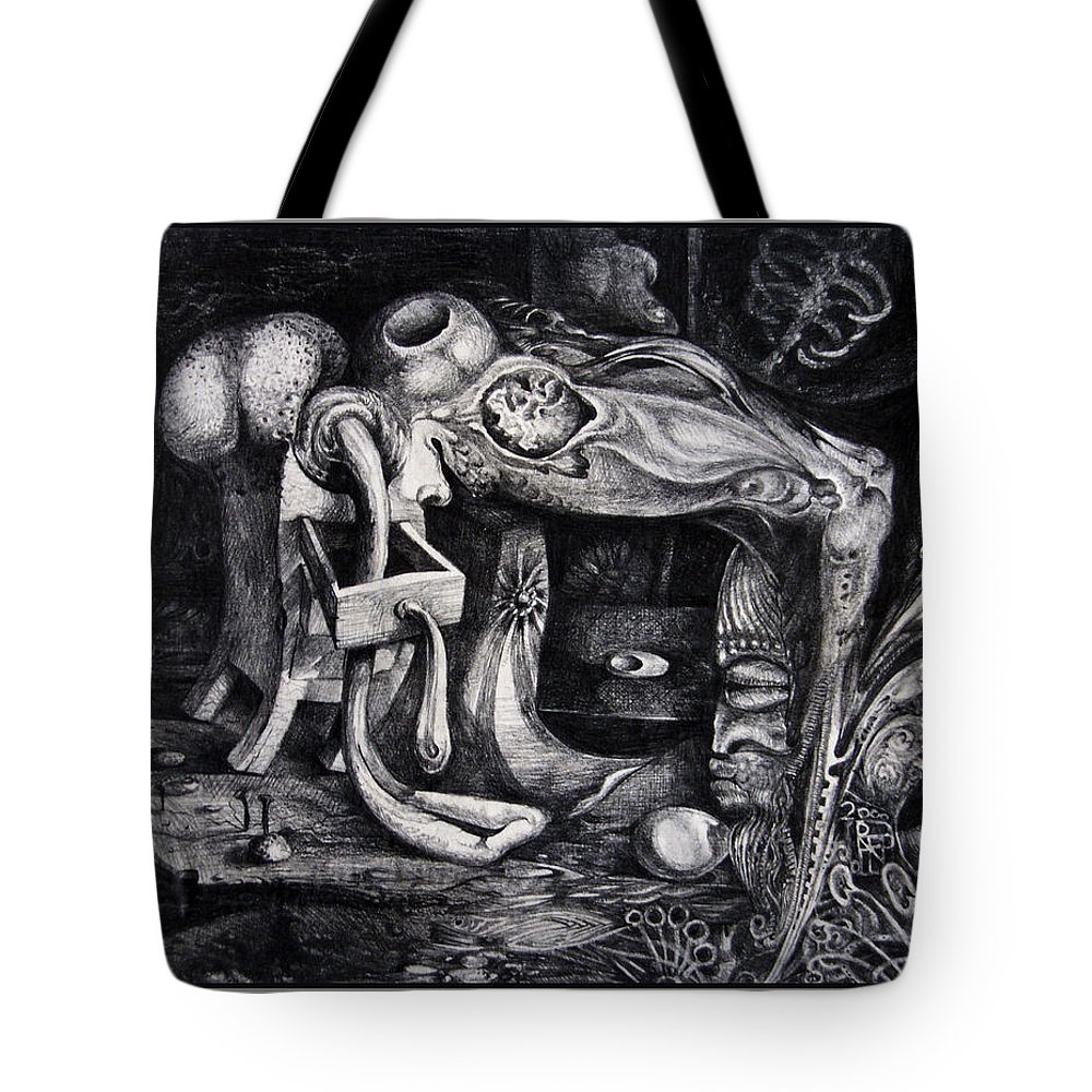 Drawing Tote Bag featuring the drawing Dark Surprise by Otto Rapp