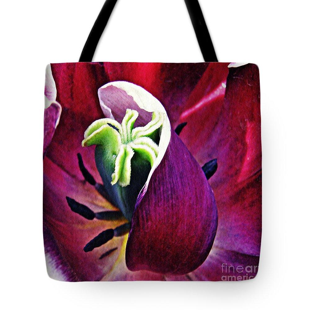 Tulip Tote Bag featuring the photograph Dark Tulip Macro Square Format by Sarah Loft