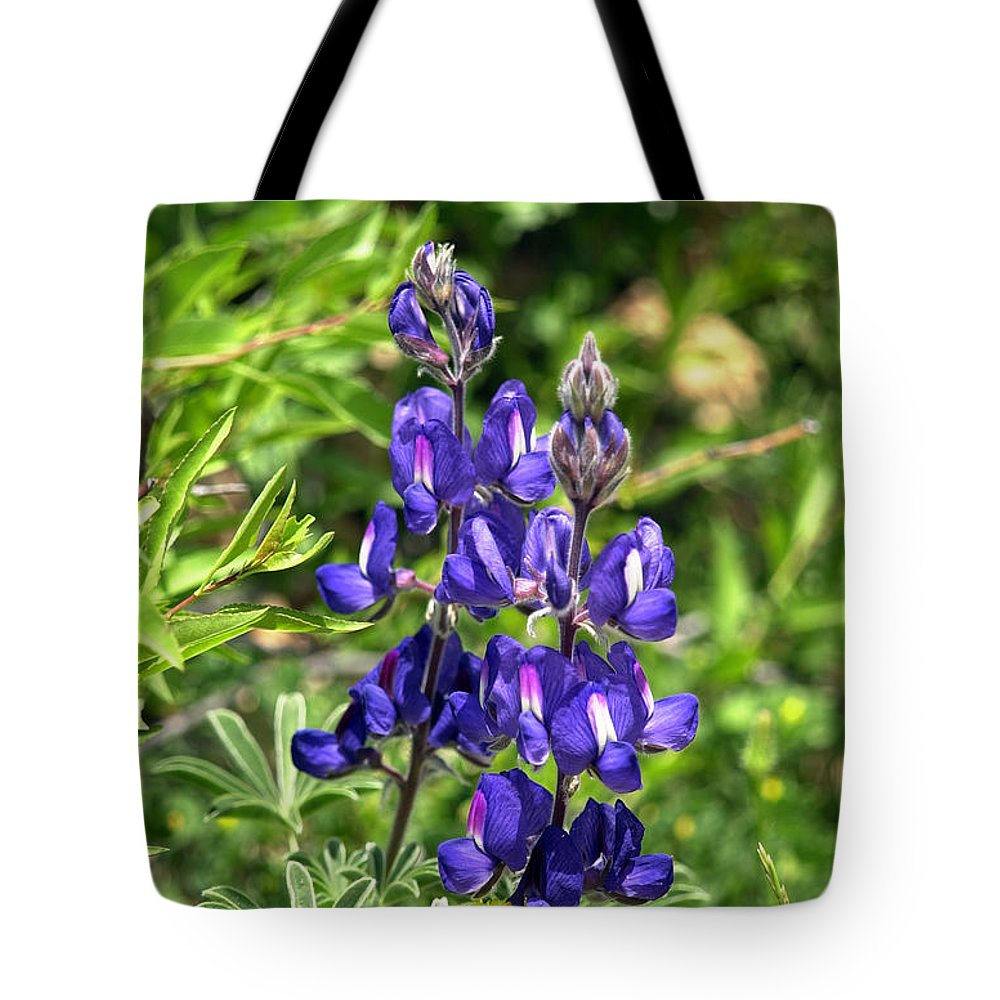 Flower Tote Bag featuring the photograph Lupin Flower by Isam Awad