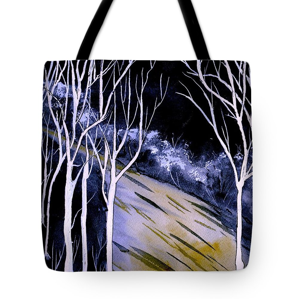 Watercolor Tote Bag featuring the painting Darkness by Brenda Owen