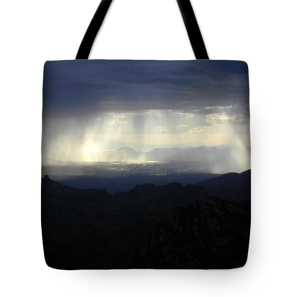 Darkness Tote Bag featuring the photograph Darkness Over The City by Douglas Barnett