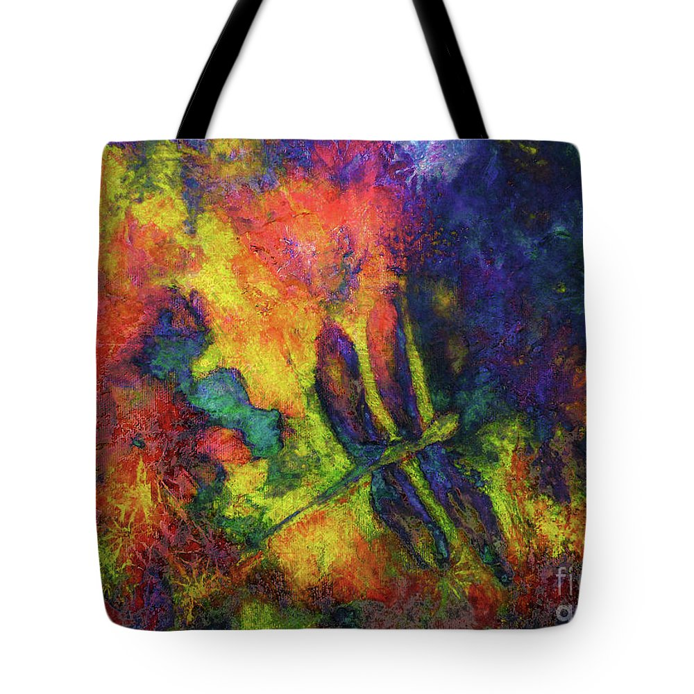 Dragonfly Tote Bag featuring the painting Darling Darker Dragonfly by Claire Bull