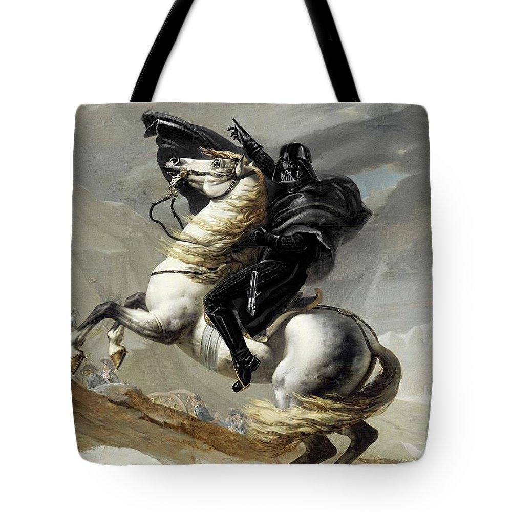 Scifi Tote Bag featuring the digital art Darth Bonaparte by Andrea Gatti