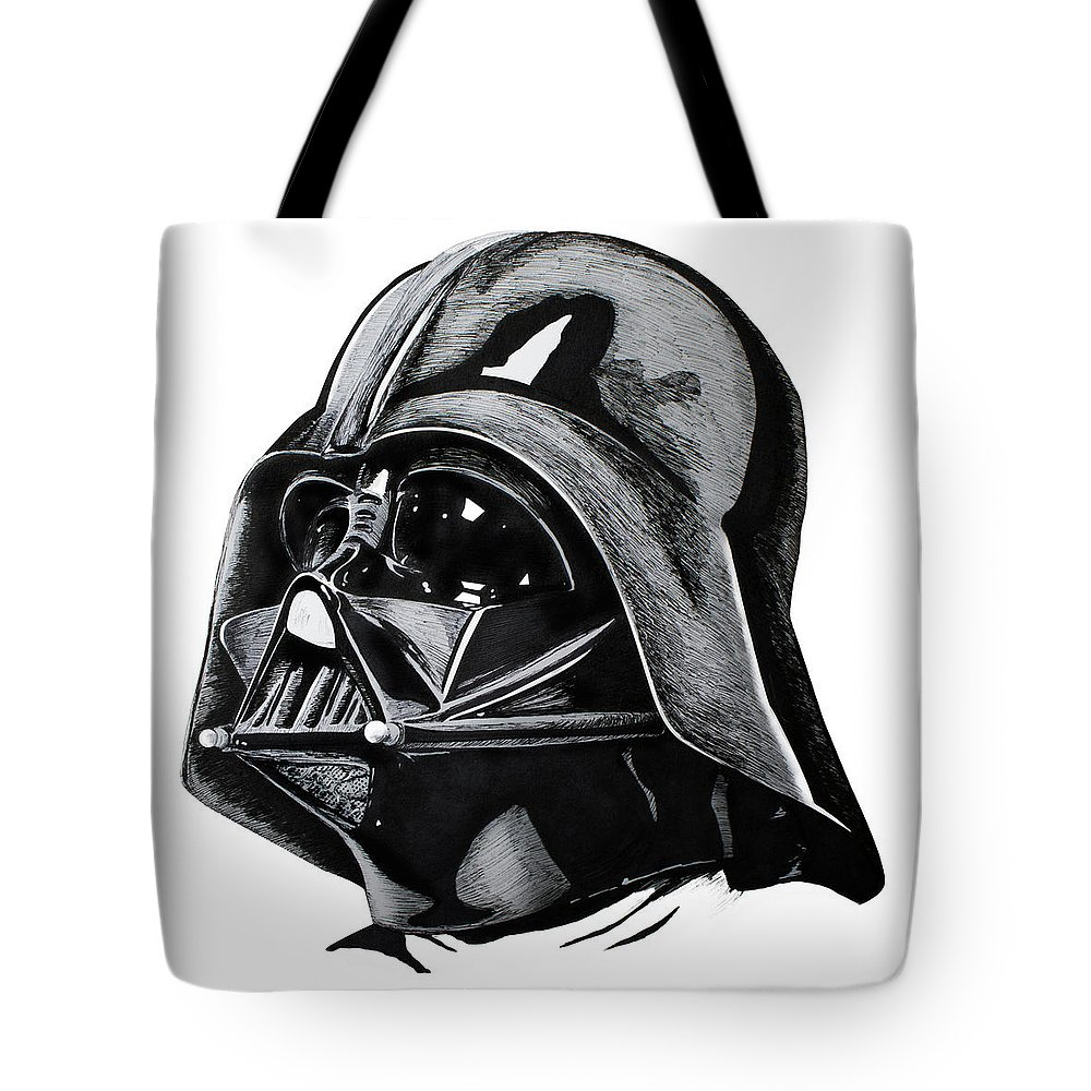 Rey Tote Bag featuring the drawing Darth Vader by Ivan Florentino Ramirez