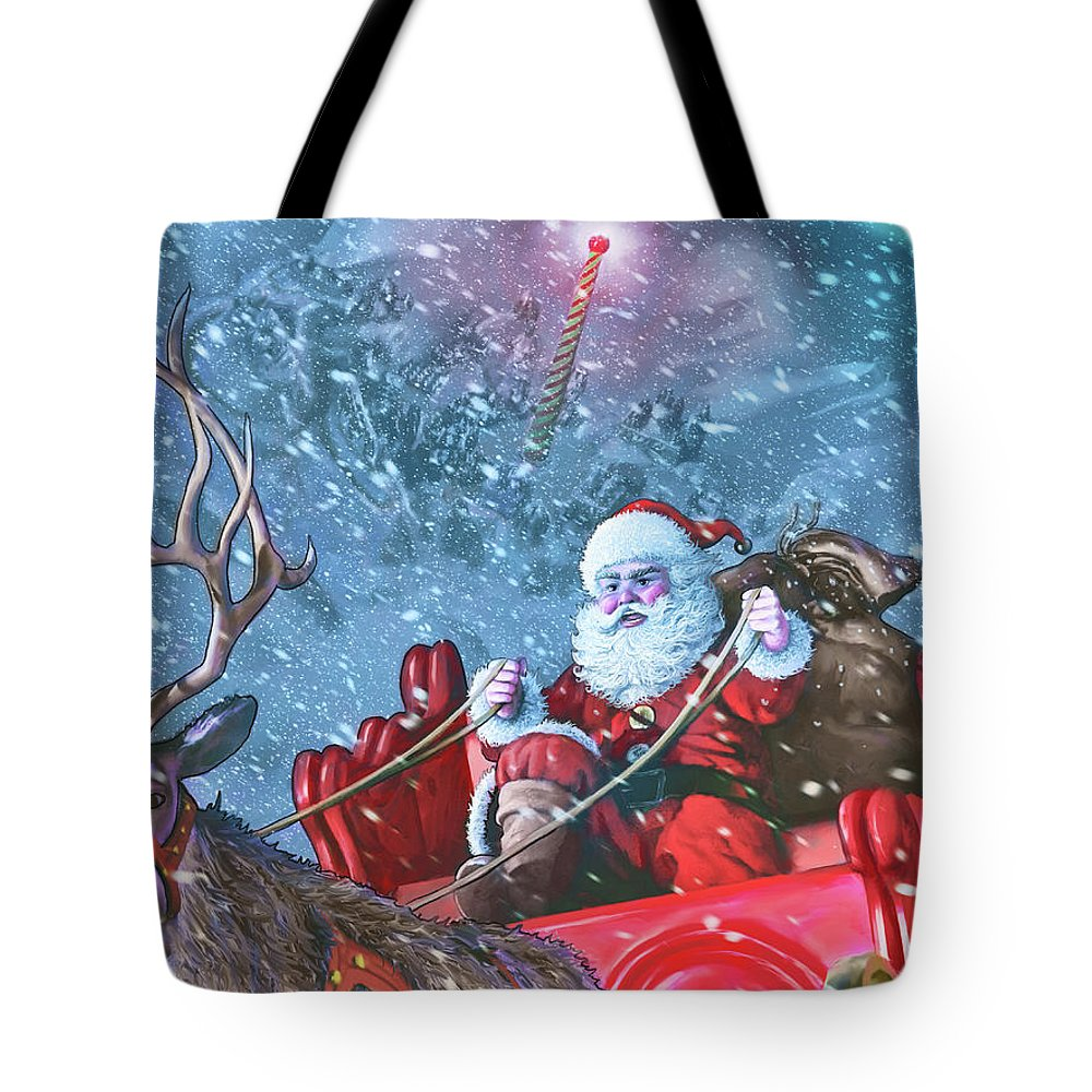 Santa Claus Tote Bag featuring the digital art Dash Away All by Dave Luebbert