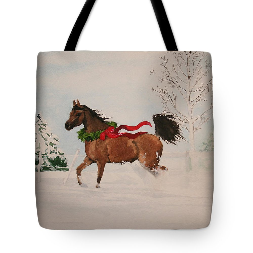 Horse Tote Bag featuring the painting Dashing Thru The Snow by Jean Blackmer