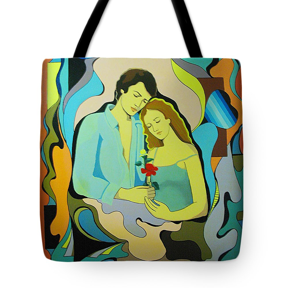Abstract Tote Bag featuring the painting Date From The Past by Vasilis Bottas