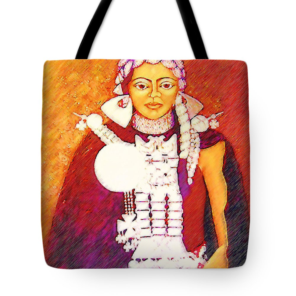 Portrait Tote Bag featuring the painting Daughter Of The Bright Sun - Kushe by Madalena Lobao-Tello