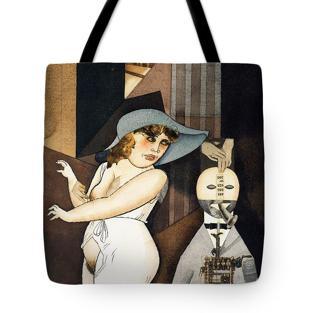 Painting Tote Bag featuring the painting Daum Marries Her Pedantic Automaton George by Mountain Dreams