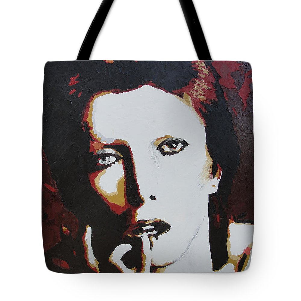 David Bowie Tote Bag featuring the painting David Bowie by Ricklene Wren