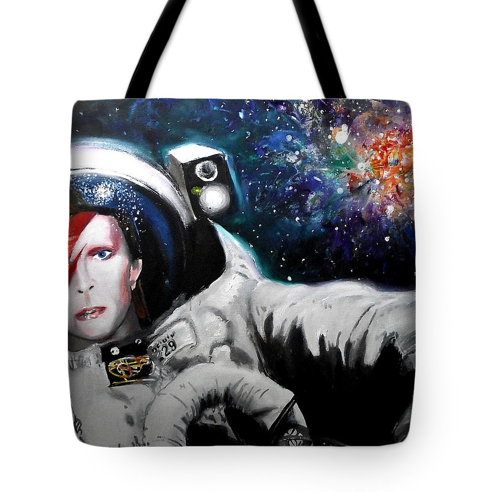 David Bowie Tote Bag featuring the mixed media David Bowie, Star Man by Tim Bennett