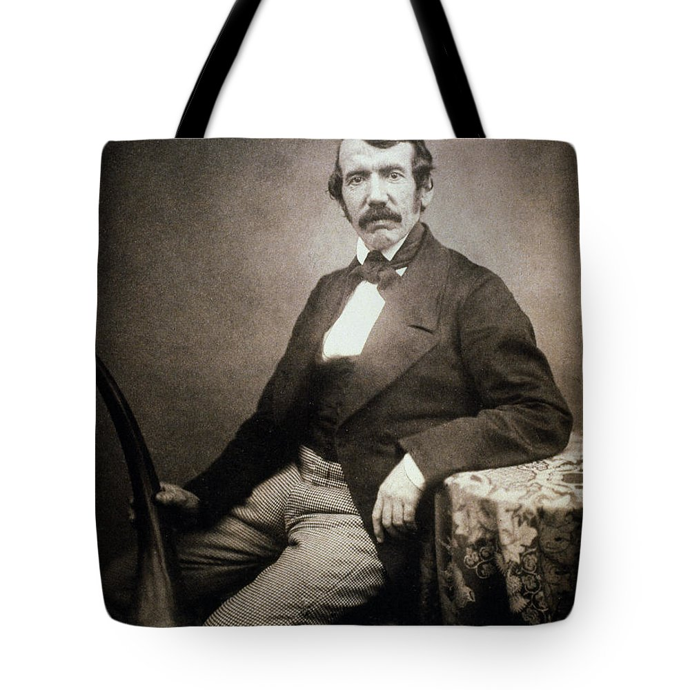 1864 Tote Bag featuring the painting David Livingstone (1813-1873) by Granger