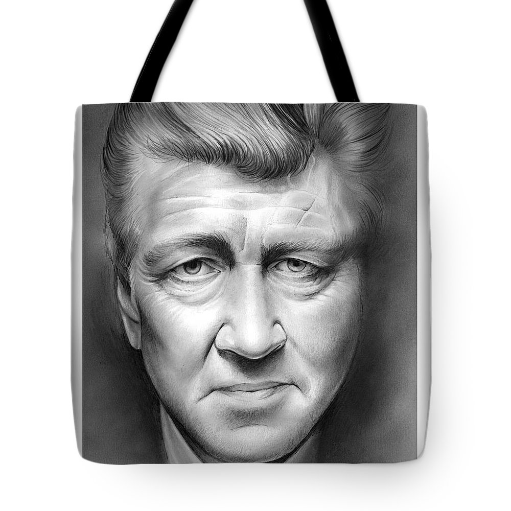 David Lynch Tote Bag featuring the drawing David Lynch by Greg Joens
