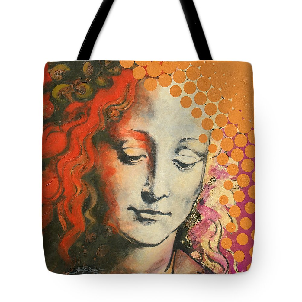 Figurative Tote Bag featuring the painting Davinci's Head by Jean Pierre Rousselet