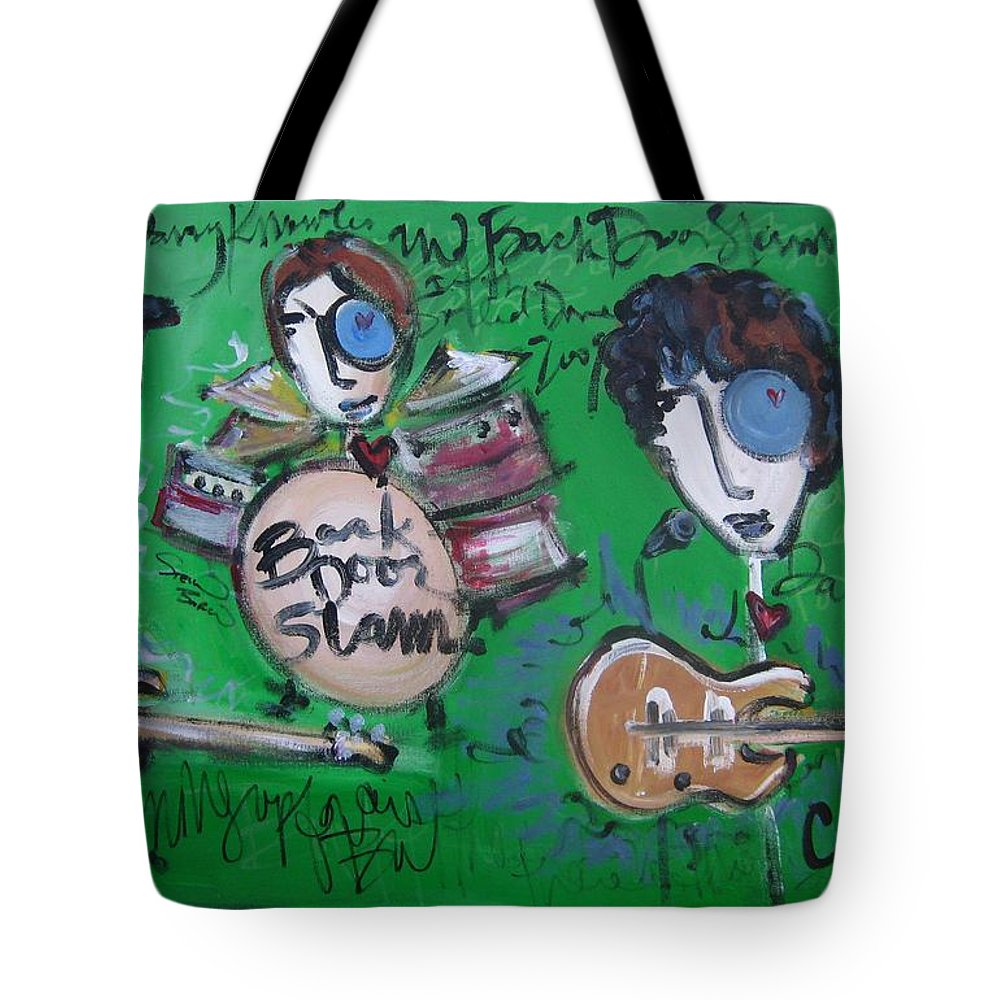 Davy Knowles Tote Bag featuring the painting Davy Knowles And Back Door Slam by Laurie Maves ART