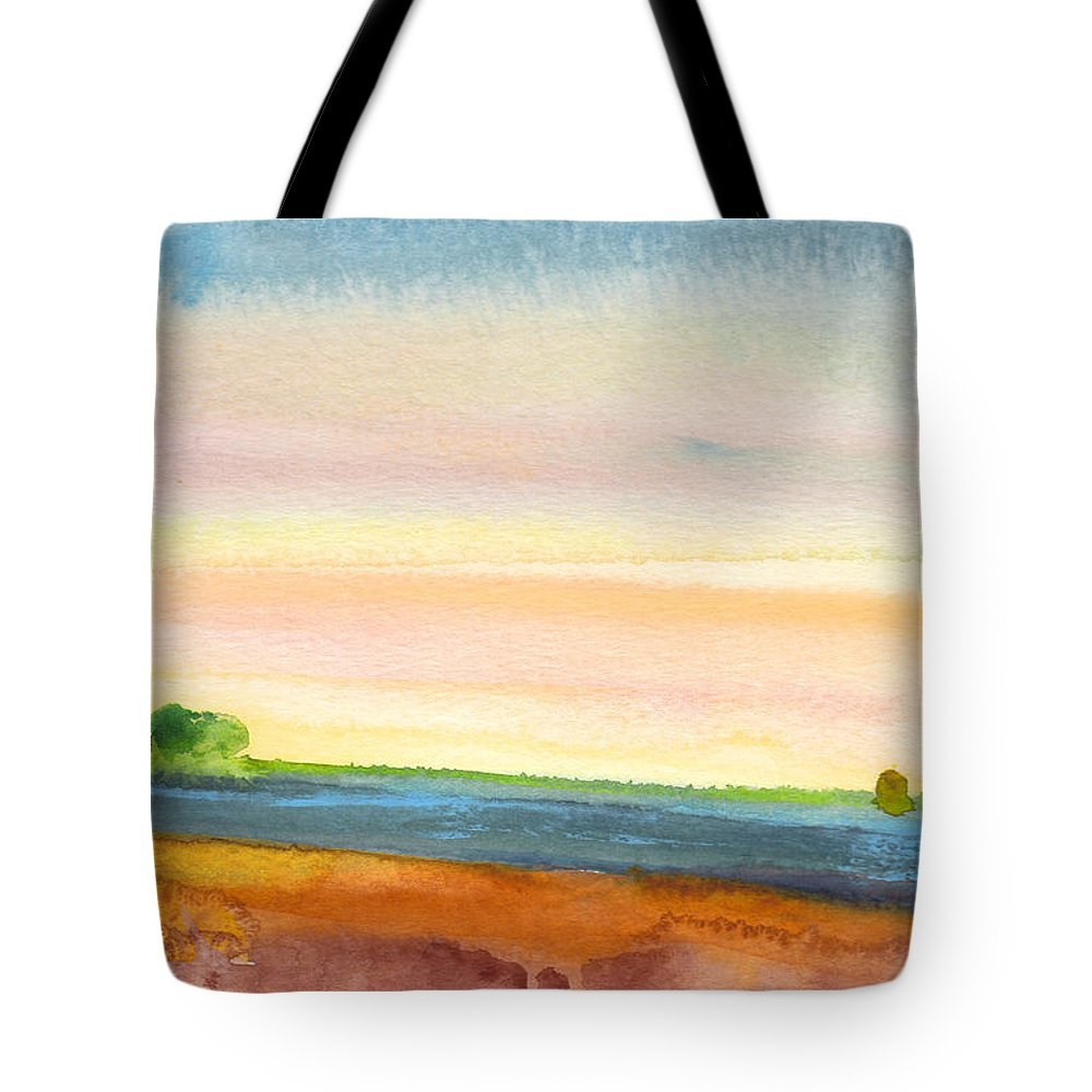 Landscapes Tote Bag featuring the painting Dawn 19 by Miki De Goodaboom