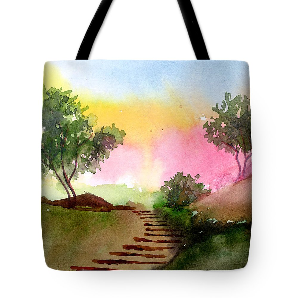 Landscape Tote Bag featuring the painting Dawn by Anil Nene