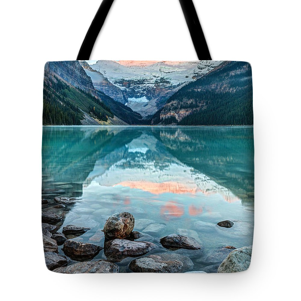Lake Louise Tote Bag featuring the photograph Dawn At Lake Louise by Pierre Leclerc Photography