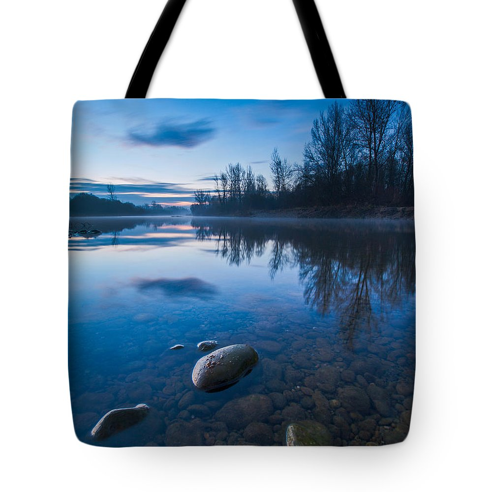 Landscape Tote Bag featuring the photograph Dawn At River by Davorin Mance