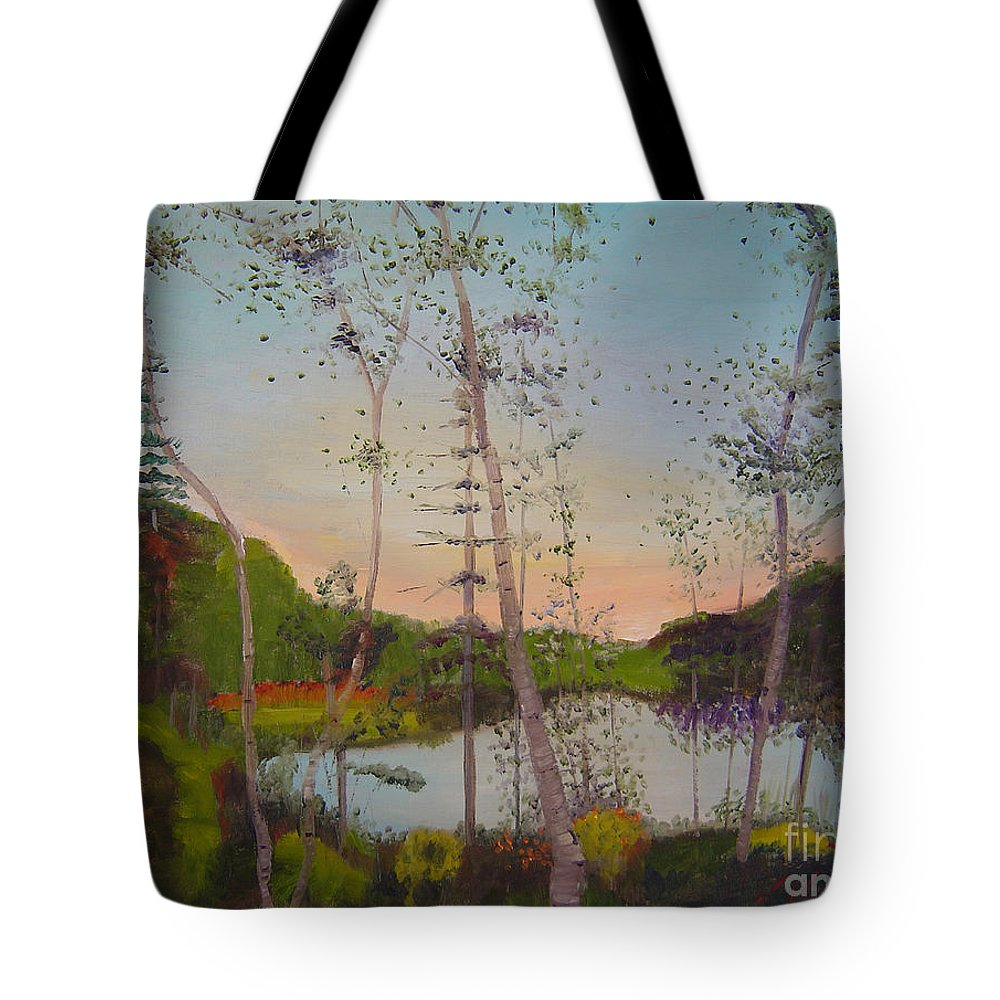 Landscape Tote Bag featuring the painting Dawn By The Pond by Lilibeth Andre