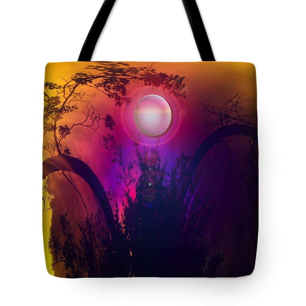 Trees Sky Stars Sun Planet Orb Space Moon Tote Bag featuring the photograph Dawn In A New Era by Andrea Lawrence