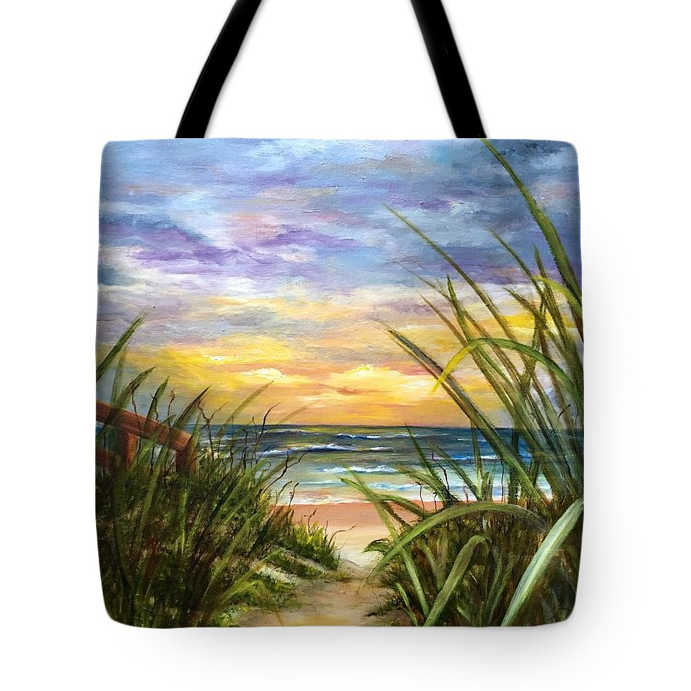 Seascape Tote Bag featuring the painting Dawn is Breaking by Susan Dehlinger