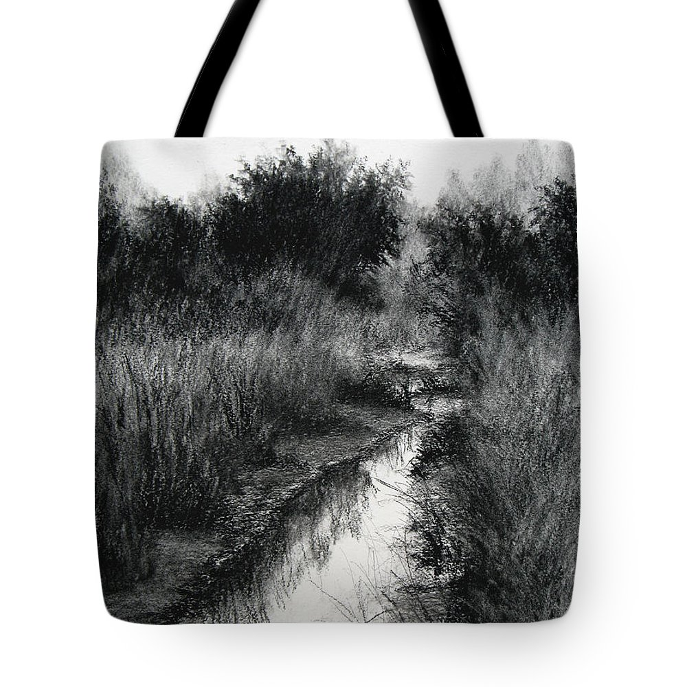 Charcoal Tote Bag featuring the drawing Dawn Marsh by Keith Burgess