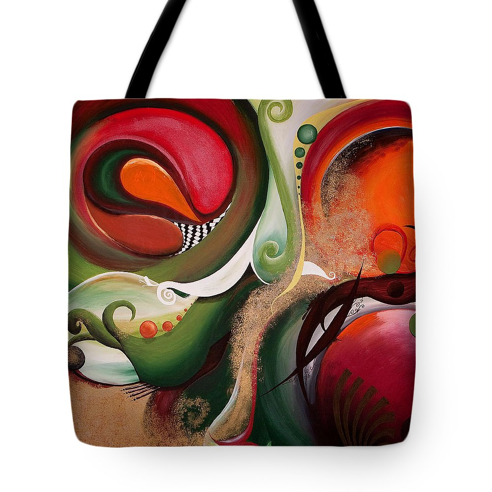 Abstract Tote Bag featuring the painting Dawn Of Creation by Olga Smith