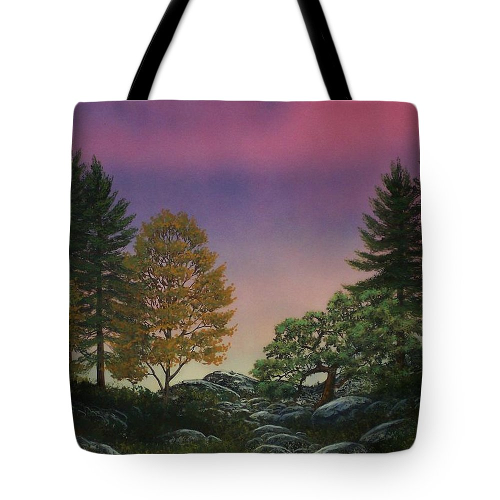 Mountains Tote Bag featuring the painting Dawn Of Day by Frank Wilson