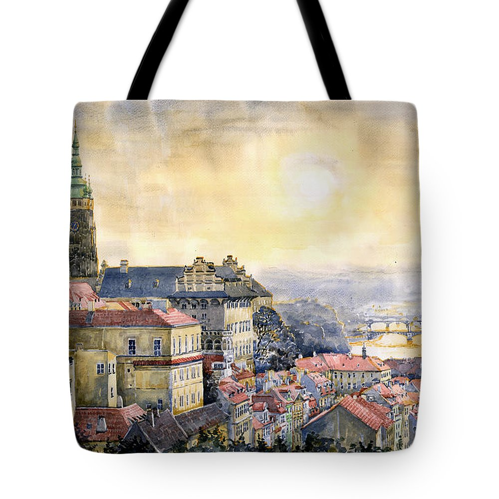 Watercolor Tote Bag featuring the painting Dawn Of Prague by Yuriy Shevchuk